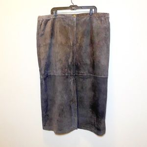 Norm Thompson Brown Suede Leather Skirt 26W